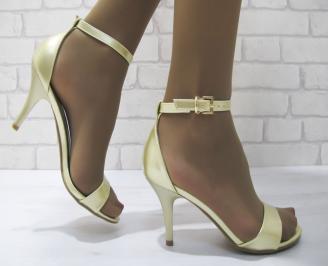 Дамски елегантни сандали  еко кожа златисти LWUJ-23320