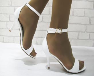 Дамски елегантни сандали бели еко кожа BYSE-23321