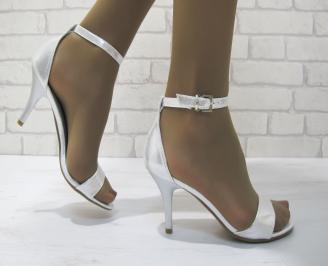 Дамски елегантни сандали  сребристи  еко кожа BHWW-23323