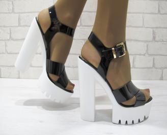 Дамски елегантни сандали на ток еко кожа/лак черни XNSY-23329