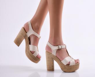 Дамски елегантни сандали на ток бежови TPEY-24089
