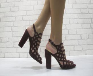 Дамски елегантни сандали еко велур вишневи FOMY-24098