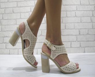Дамски елегантни сандали еко кожа бежови RGWC-24205