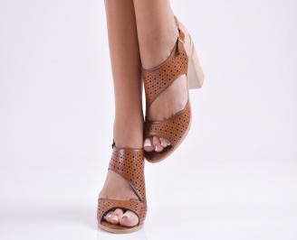 Дамски елегантни сандали еко кожа кафяви QRCK-24273