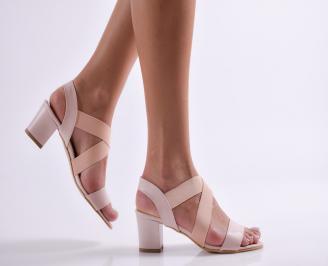 Дамски елегантни сандали еко кожа пудра MKJL-24370
