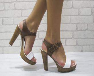 Дамски елегантни сандали еко кожа кафяво/бяло