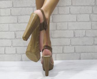 Дамски елегантни сандали еко кожа кафяво/бяло QZLJ-24371