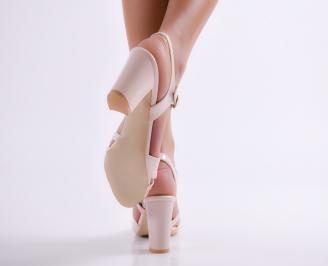 Дамски елегантни сандали еко кожа/лак пудра TOFC-24378