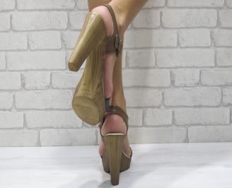 Дамски елегантни сандали еко кожа кафяво/черно YVKD-24388