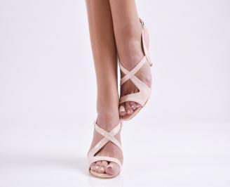 Дамски елегантни сандали еко кожа пудра XQXC-24404