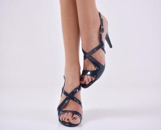 Дамски елегантни сандали еко кожа/лак тъмно сини XJTJ-24426