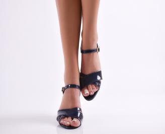 Дамски елегантни сандали еко кожа/лак тъмно сини QXTM-24428