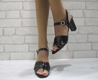 Дамски елегантни сандали еко кожа/лак черно DRBD-24438