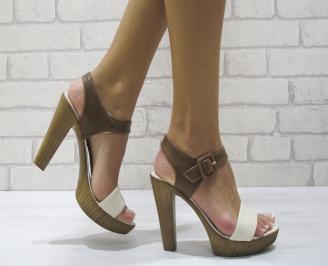 Дамски елегантни сандали еко кожа кафяви DGII-24455
