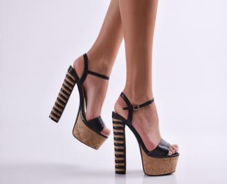 Дамски елегантни сандали еко кожа черни TALQ-24466