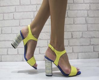 Дамски елегантни сандали еко кожа жълти CTPF-24579