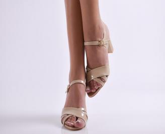 Дамски елегантни сандали еко кожа бежово UQVX-24580