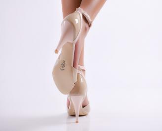 Дамски елегантни сандали еко кожа бежово SJBY-24599