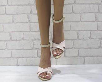 Дамски елегантни сандали еко кожа/лак пудра BWGW-24601