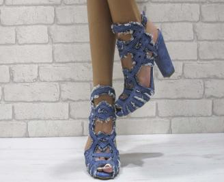 Дамски елегантни сандали текстил сини ZXDR-24602
