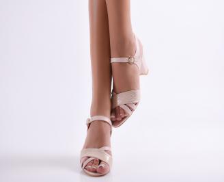 Дамски елегантни сандали еко кожа пудра GEGU-24604