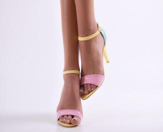 Дамски елегантни сандали еко кожа/лак жълти YMYD-24608