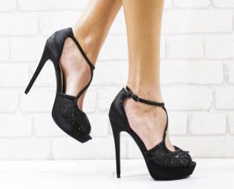 Дамски елегантни сандали  на ток черни OKJW-26562