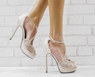 Дамски елегантни сандали  на ток бежови DZPB-26563