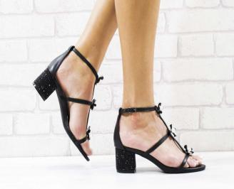 Дамски елегантни сандали еко кожа черни RUWK-26565