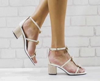 Дамски елегантни сандали еко кожа бежови OMOH-26566