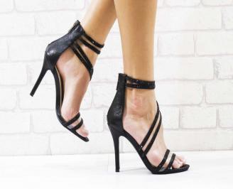 Дамски елегантни сандали  на ток черни HMPK-26567