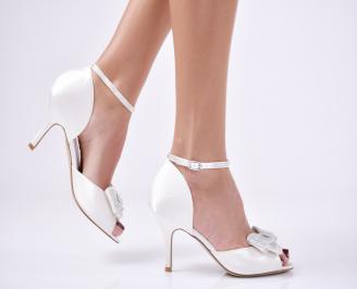 Дамски елегантни сандали  на ток бели RAOZ-26574