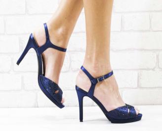 Дамски елегантни сандали  на ток сини KQNP-26575