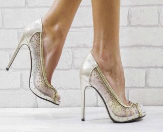 Дамски елегантни сандали  на ток златисти XFGL-26576