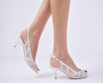 Дамски елегантни сандали  на ток бели UPSA-26578