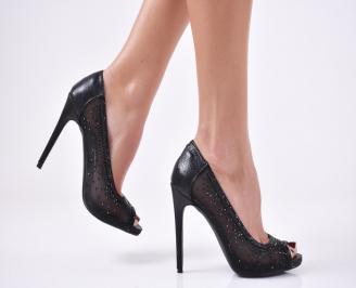 Дамски елегантни сандали  на ток черни OESB-26579