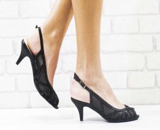 Дамски елегантни сандали  на ток черни UDSL-26580