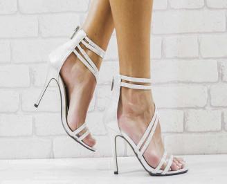 Дамски елегантни сандали  на ток сребристи CMEJ-26582