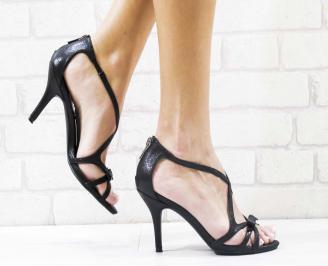 Дамски елегантни сандали  на ток черни RSIC-26584