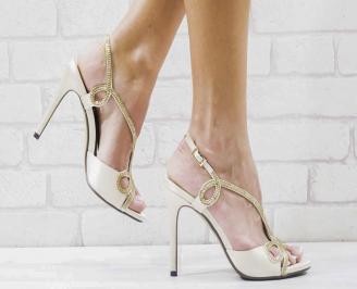 Дамски елегантни сандали  на ток бежови JCSG-26585