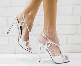Дамски елегантни сандали  на ток сребристи URSQ-26588