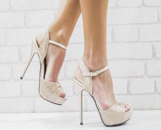Дамски елегантни сандали  на ток бежови LKHW-26589