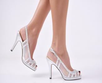 Дамски елегантни сандали  на ток сребристи VPQI-26591