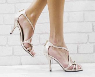 Дамски елегантни сандали  на ток бежови RXPV-26592