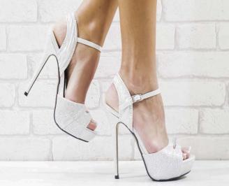 Дамски елегантни сандали  на ток сребристи FMQY-26593