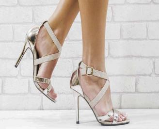 Дамски елегантни сандали  на ток златисти JKSV-26599