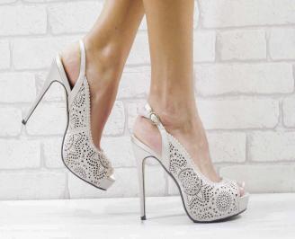 Дамски елегантни сандали  на ток бежови XUOD-26601