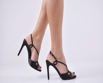 Дамски елегантни сандали  на ток черни DLJF-26605