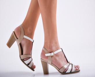 Дамски елегантни сандали еко кожа бежови EFZR-27112