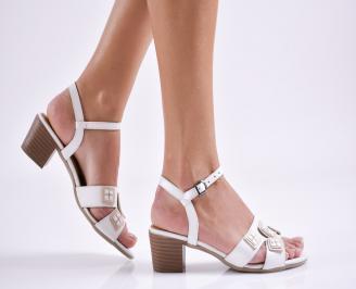 Дамски елегантни сандали естествена  кожа бели TPFS-27445